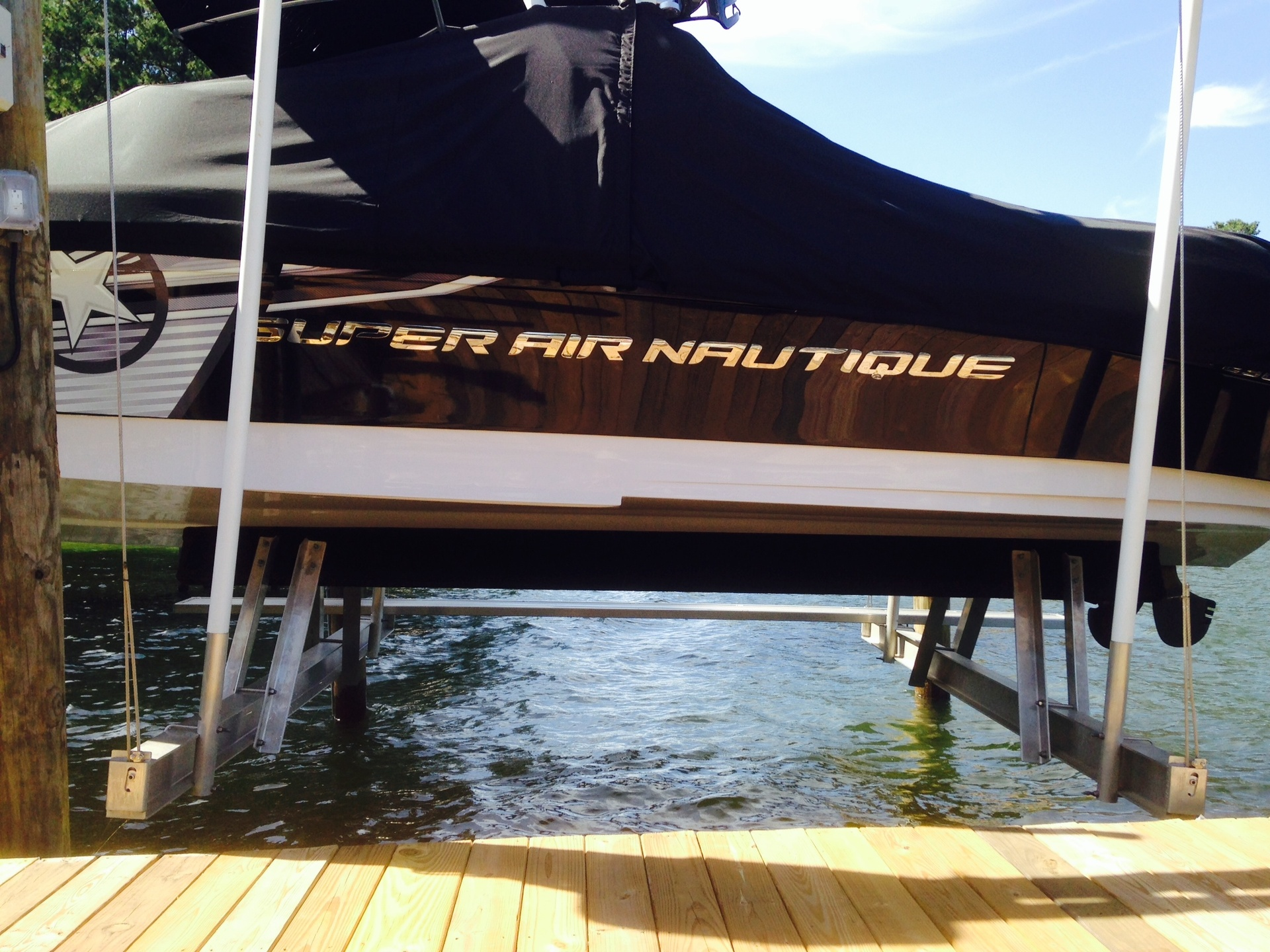 Elevated bunks for wake boarding boats